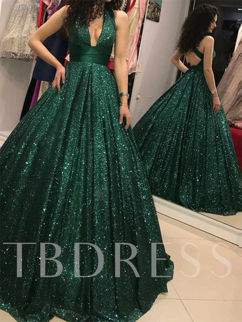 Ball Gown Sequins Dark Green Evening Dress 2020