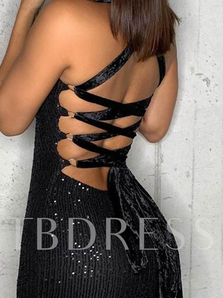 Off Shoulder Sleeveless Lace-Up Above Knee Party/Cocktail Women's Dress