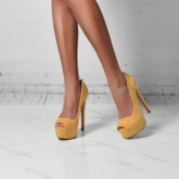 Peep Toe Slip-On Ultra-High Heel Pumps