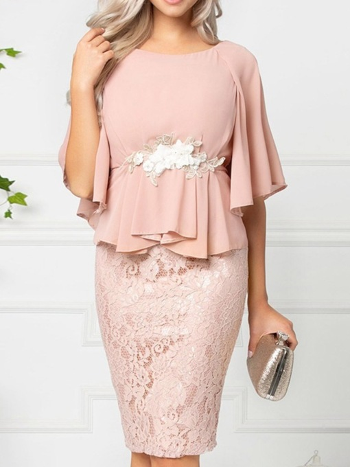 Round Neck Knee-Length Lace Half Sleeve Sweet Women's Dress
