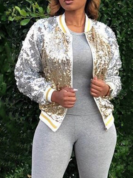 Slim Zipper Sequins Standard Women's Jacket