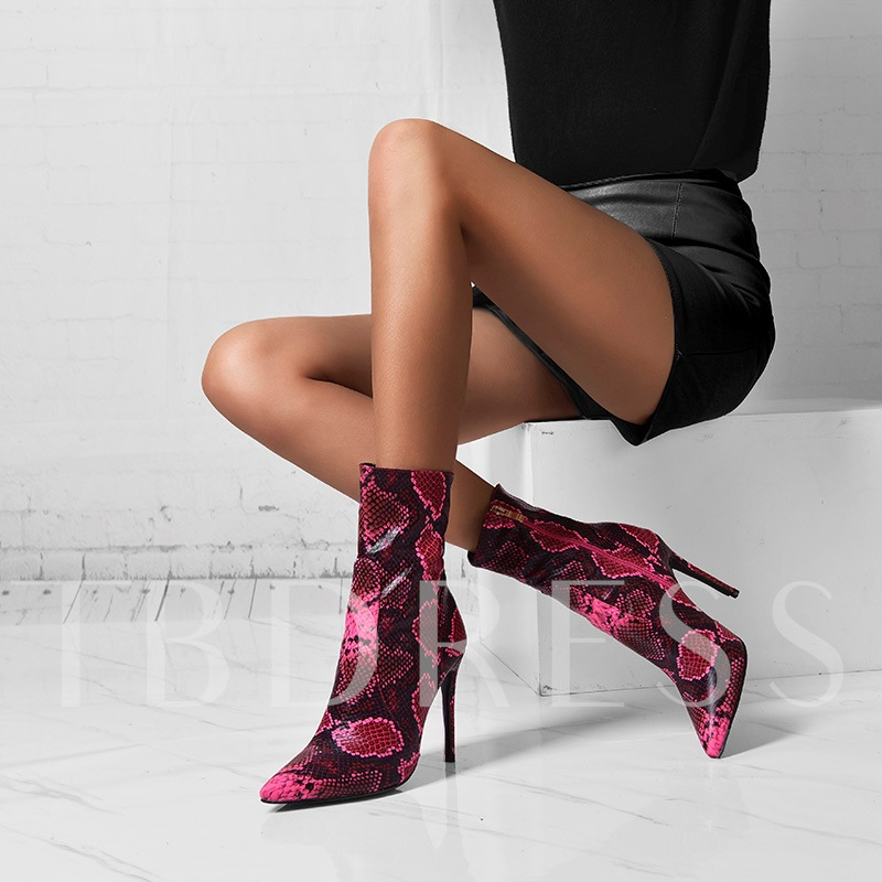 Round Toe Side Zipper Snake Skin Customized Booties
