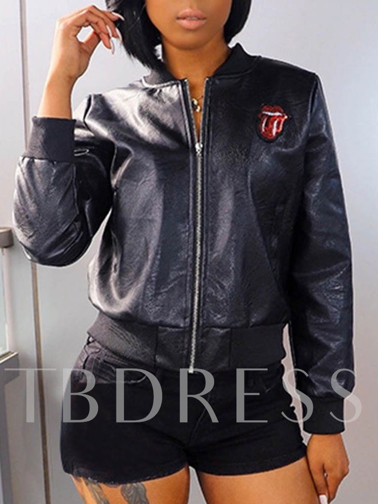 Slim Faux Leather Standard Women's PU Jacket