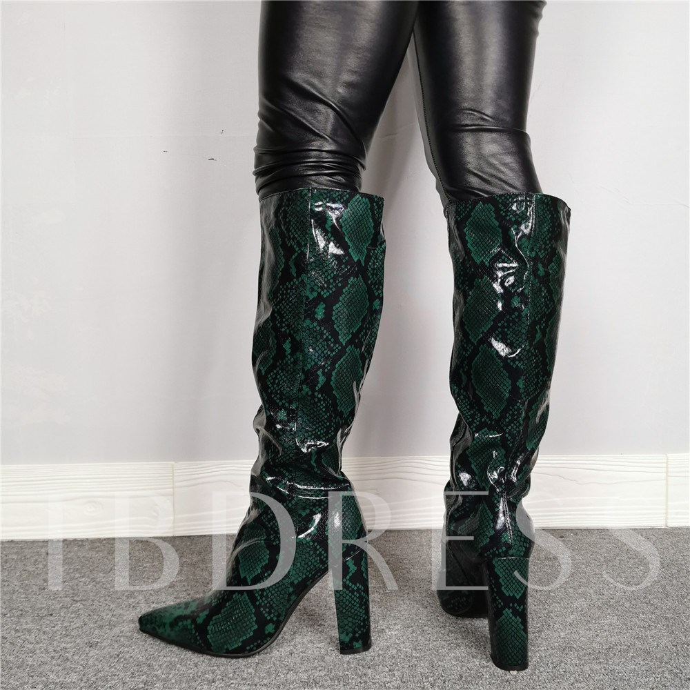 Serpentine Slip-On Pointed Toe Green Knee High Boots