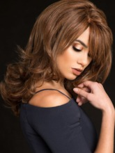 Dark Brown Color Women's Natural Looking Wavy 100% Human Hair Lace Front Wigs With Bangs 18Inch