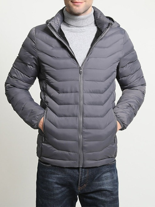 Standard Plain Slim Zipper Men's Down Jacket