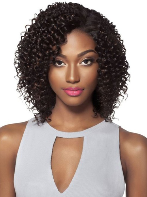 Short Length Side Part Bob Hairstyle Women's Kinky Curly Human Hair Lace Front Wigs 14Inch