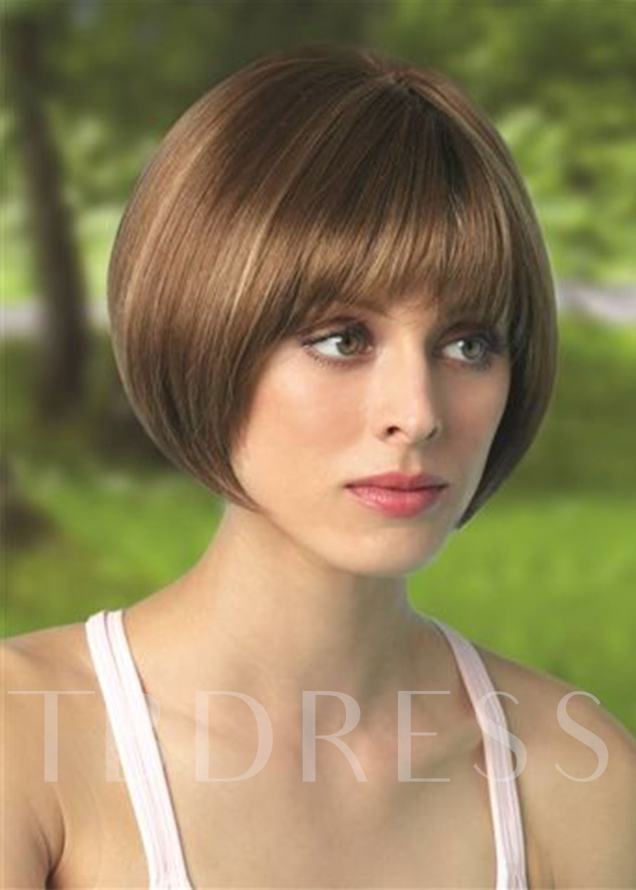 Short Bob Hairstyle Wigs For Women With Bangs Synthetic Hair Wigs Straight Hair Capless Wigs 8Inch