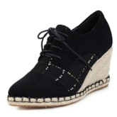 Wedge Heel Pointed Toe Lace-Up Plaid Suede Sneakers