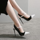 Stiletto Heel T-Shaped Buckle Pointed Toe Color Block Sexy Pumps