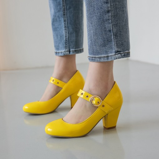 Round Toe Chunky Heel Buckle Mary Jane Pumps