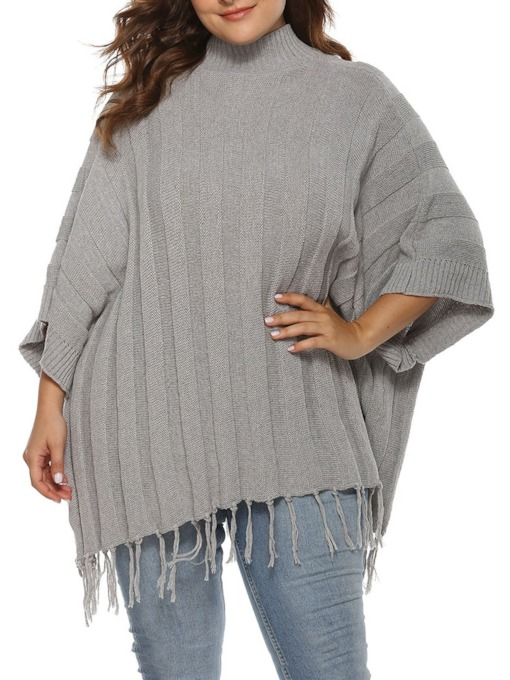 Plus Size Regular Plain Women's Sweater