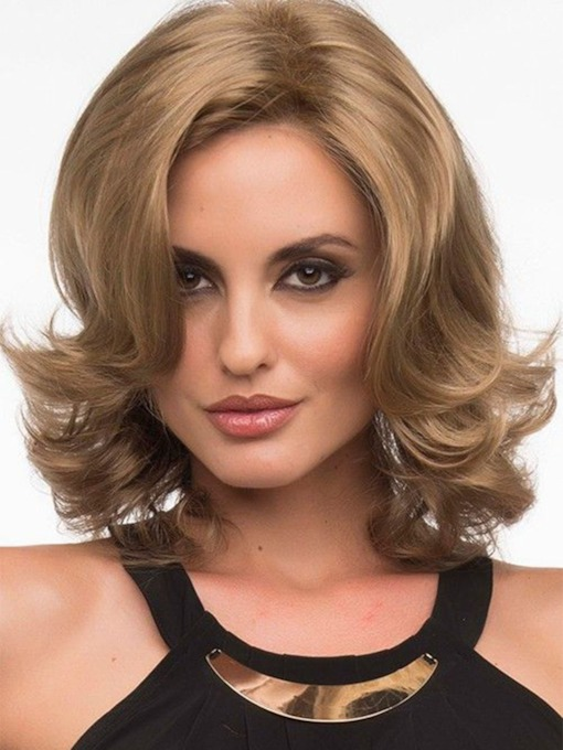Medium Hairstyle Side Part Wavy Human Hair Wigs For Women Blonde Color Lace Front Wigs 16Inch