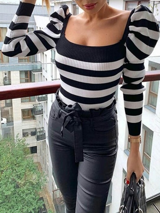 Puff Sleeve Thin Slim Stripe Women's Sweater