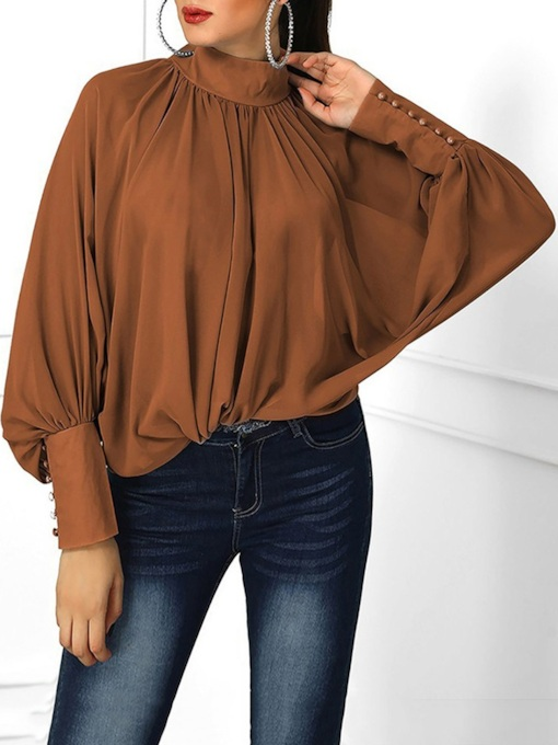 Plain Loose Long Sleeve Lantern Women's Blouse
