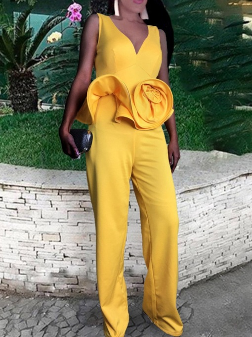 Full Length Plain Sexy High Waist Women's Jumpsuit