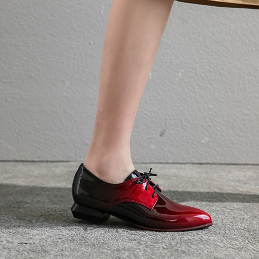 Lace-Up Pointed Toe Block Hee Gradient Flats