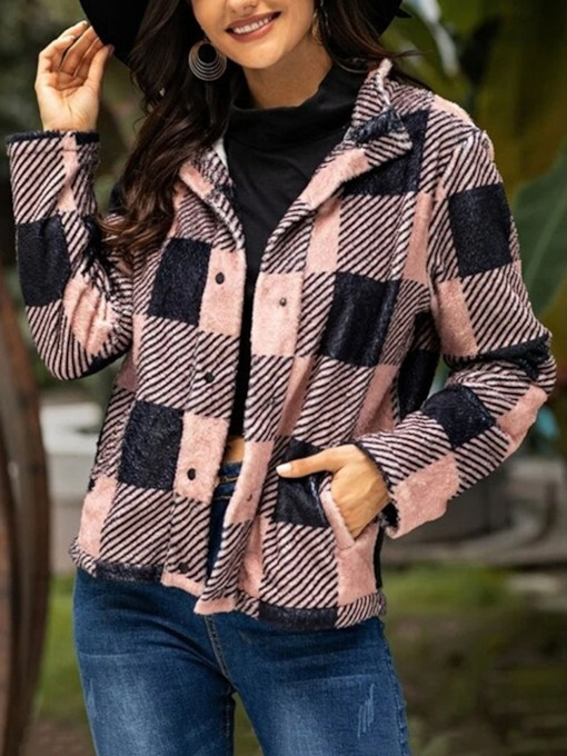 Plaid Single-Breasted Straight Standard Women's Jacket