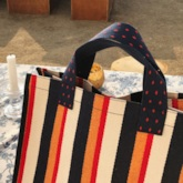 Patchwork Canvas Stripe Rectangle Tote Bags