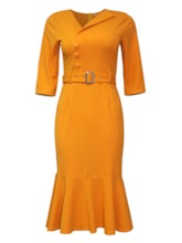 Plus Size Half Sleeve Belt Mid-Calf Pullover Women's Dress