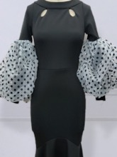 Patchwork Long Sleeve Ankle-Length Round Neck Pullover Women's Dress