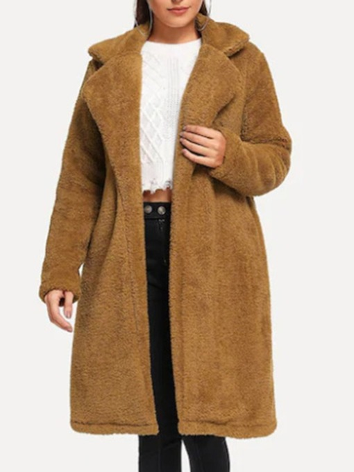 Loose Plain Regular Long Women's Coat