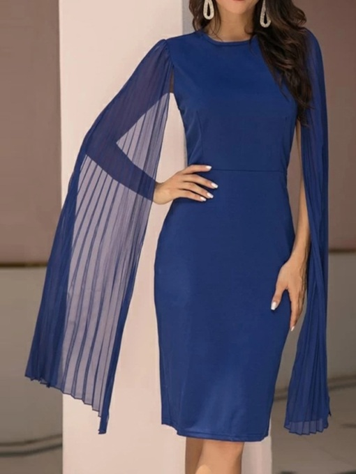 Round Neck Knee-Length Long Sleeve Fashion Women's Dress
