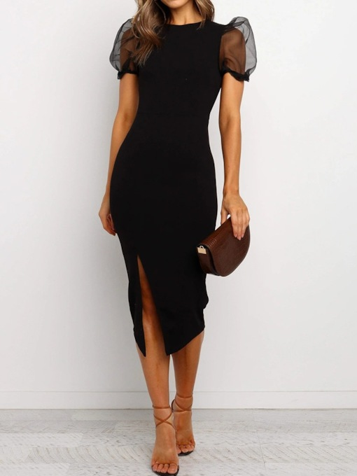 Round Neck Short Sleeve Mesh Mid-Calf Party/Cocktail Women's Dress
