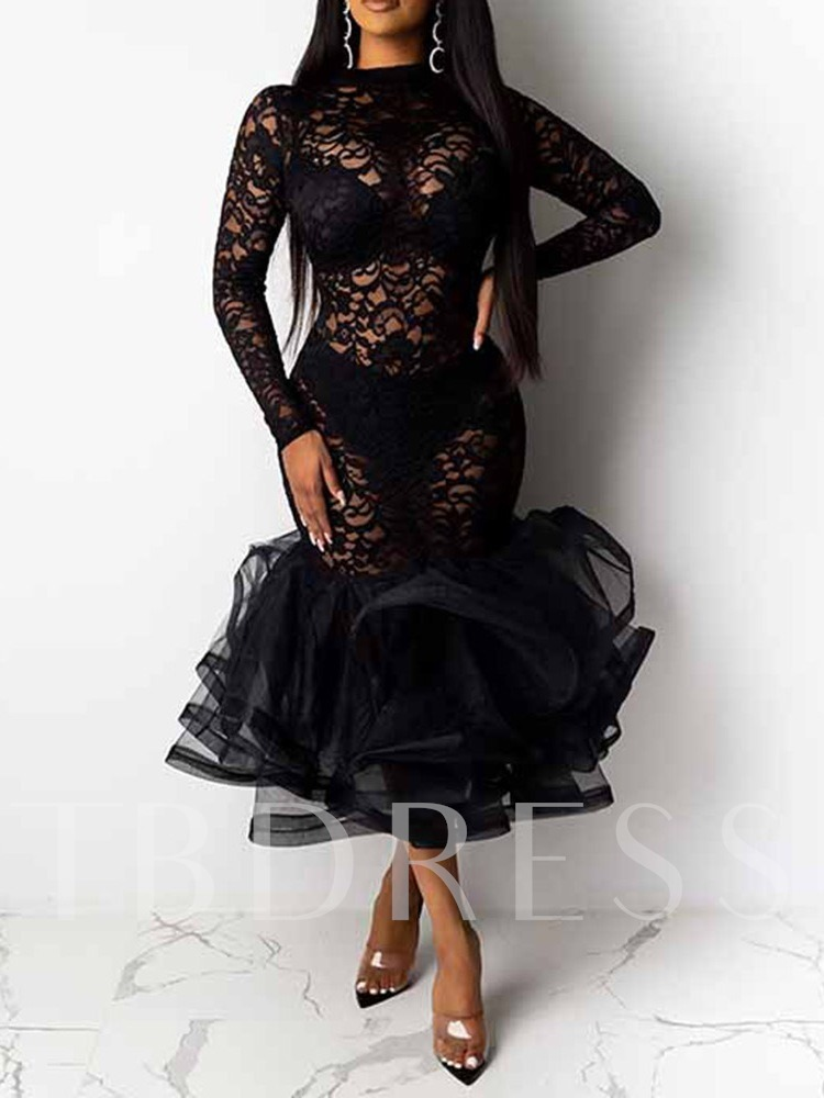 Lace Sexy Mid-Calf Stand Collar Hollow Long Sleeve Pullover Women's Dress