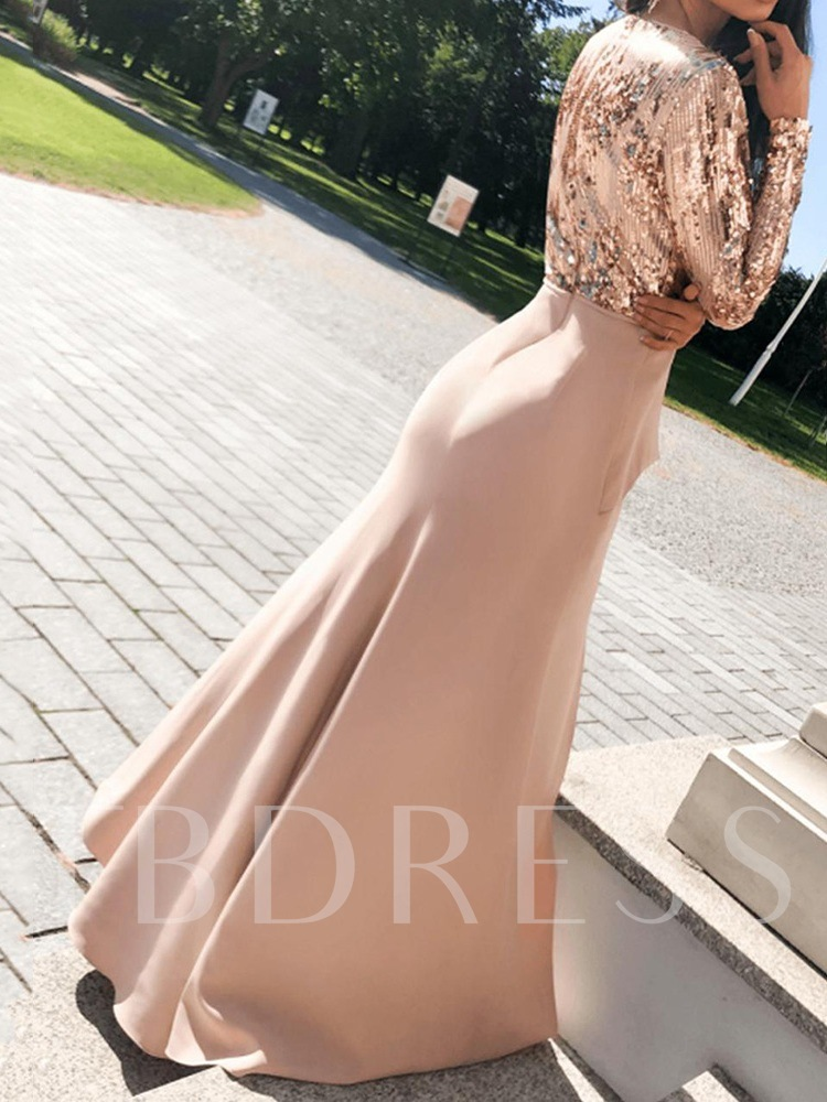 Sequins V-Neck Floor-Length Split Nine Points Sleeve Pullover Women's Dress