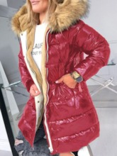 Faux Fur Hooded Loose Thick Mid-Length Women's Cotton Padded Jacket