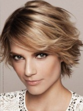 Women's Short Layered Hairstyles Natural Straight Synthetic Hair Wigs With Bangs Short Shaggy Capless Wigs 10Inch