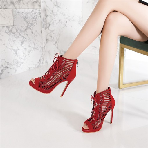 Zipper Stiletto Heel Zipper Peep Toe Hollow Booties