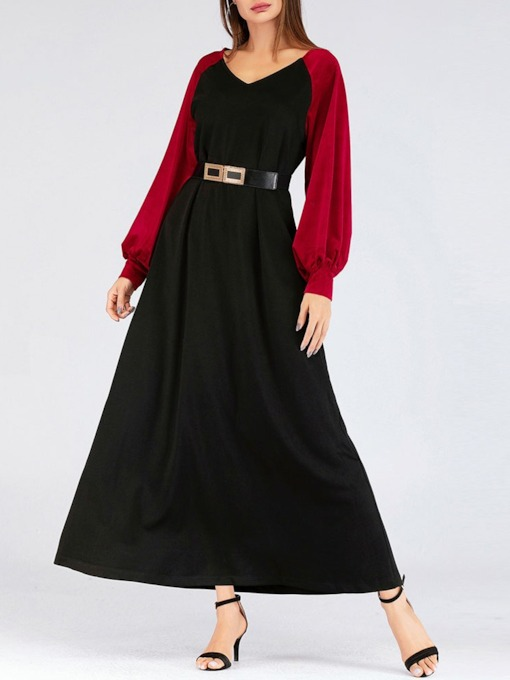 Patchwork Ankle-Length Long Sleeve V-Neck Pullover Women's Dress