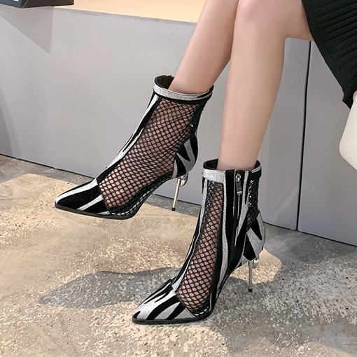 Color Block Stiletto Heel Pointed Toe Side Zipper Mesh Booties