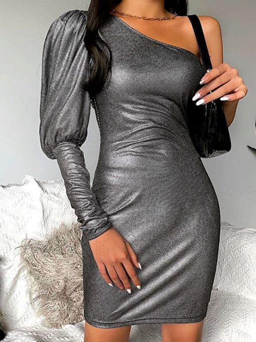 Oblique Collar Long Sleeve Above Knee One-Shoulder Women's Dress