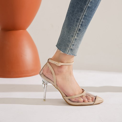 Pointed Toe Buckle Stiletto Heel Line-Style Buckle Sandals