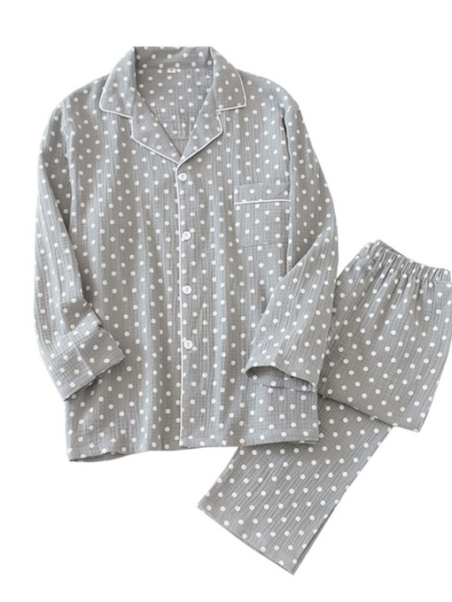 Long Sleeve Cotton Men's Pajamas Sets