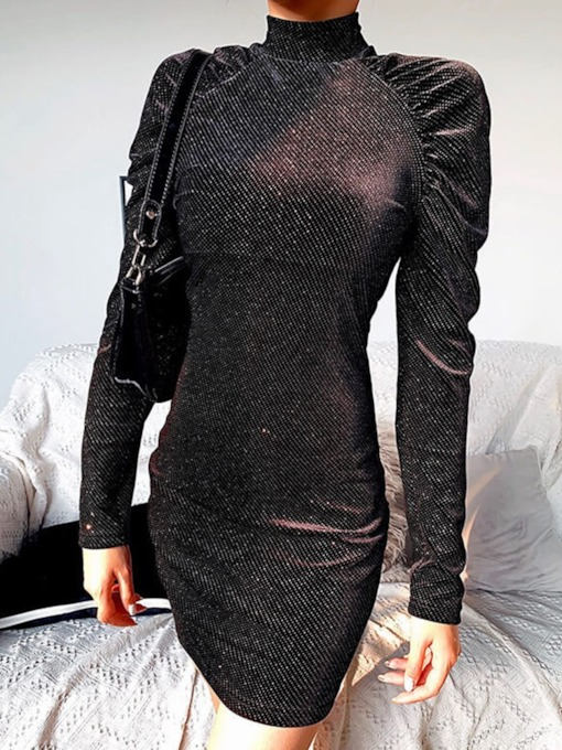 Long Sleeve Above Knee Round Neck Backless Party/Cocktail Women's Dress