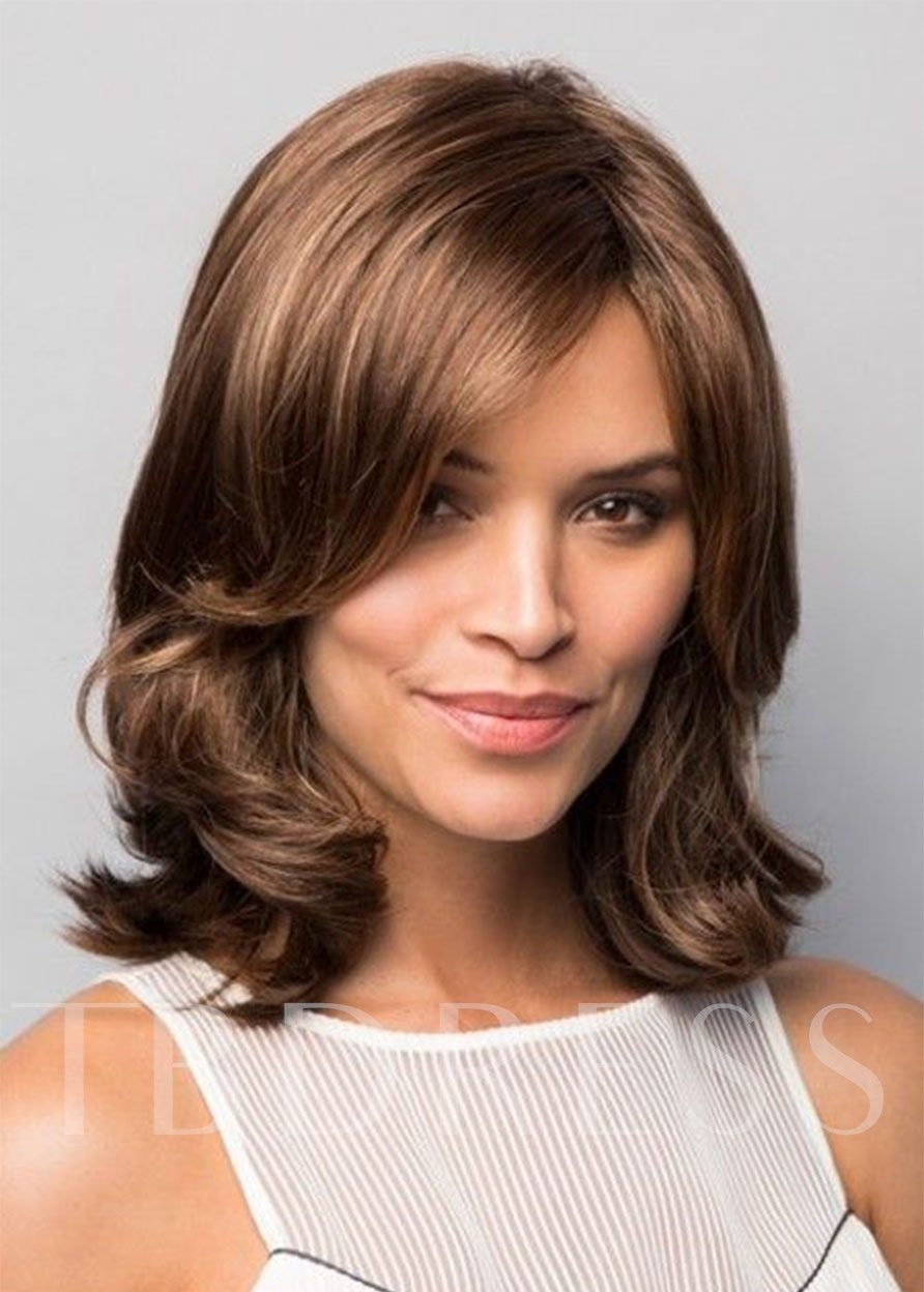 Women's Medium Layered Hairstyles Middle Part 100% Human Hair Wigs Wavy Style Lace Front Cap Wigs 16Inch