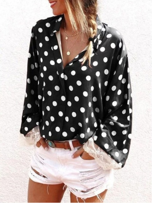 Lapel Polka Dots Standard Women's Blouse