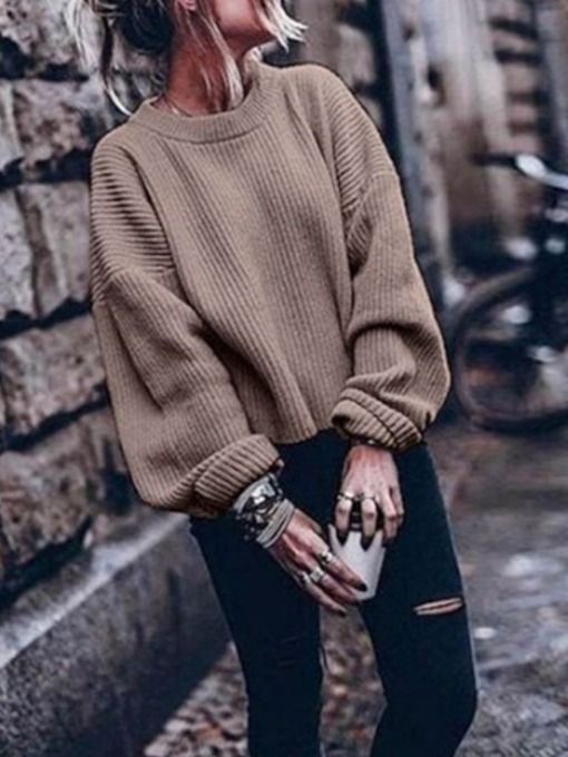 Fashion Streetwear Plain Women's Sweater