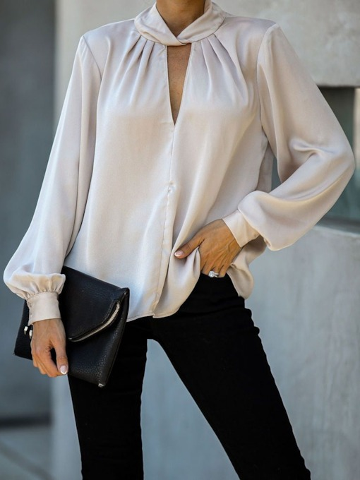 Office Lady Plain Regular Standard Women's Blouse