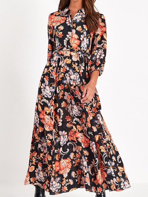 Print Three-Quarter Sleeve Ankle-Length Lapel Floral Women's Dress