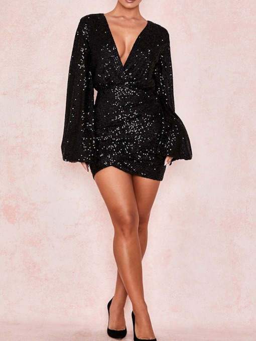 Sequins V-Neck Above Knee Long Sleeve Plain Women's Dress