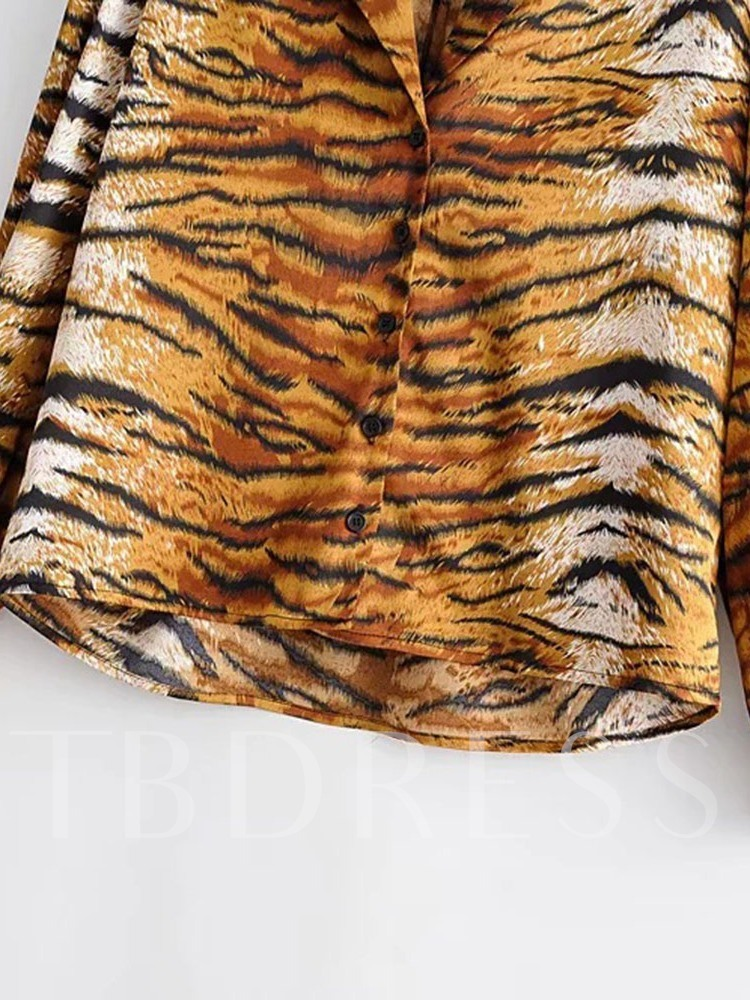 Regular Print Tiger Pattern Women's Blouse