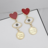 Heart-Shaped Alloy European Anniversary Earrings