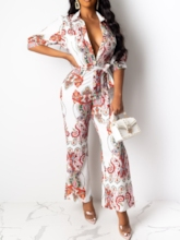 Ankle Length Print Sexy Bellbottoms Women's Jumpsuit