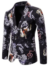 Vintage Single-Breasted Slim Floral Men's leisure Suit