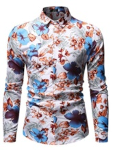 Casual Lapel Print Floral Single-Breasted Men's Shirt